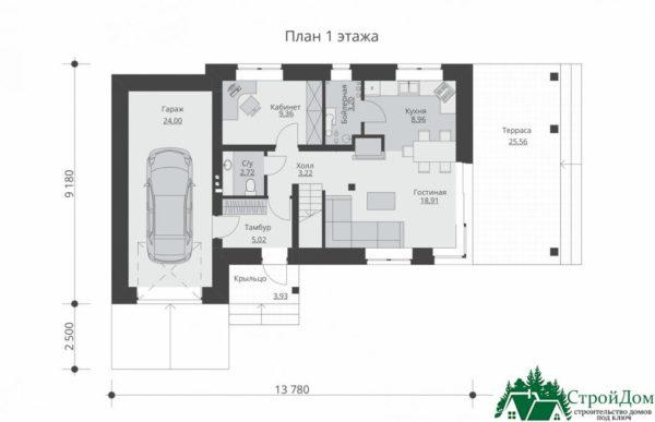 проект двухъэтажного дома 300 план 1 этажа 9