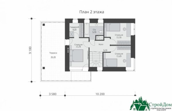 проект двухъэтажного дома 300 план 2 этажа 9