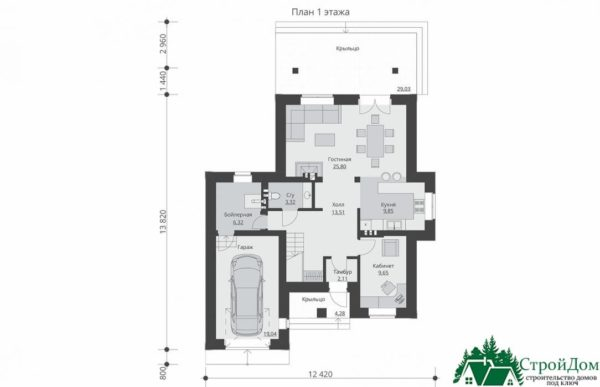 проект двухъэтажного дома 342 план 1 этажа 10