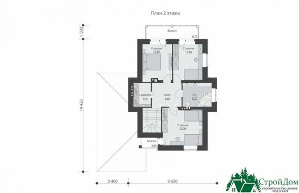 проект двухъэтажного дома 342 план 2 этажа 10