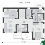 проект двухъэтажного дома 344 план 1 этажа 12