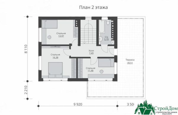 проект двухъэтажного дома 344 план 2 этажа 12