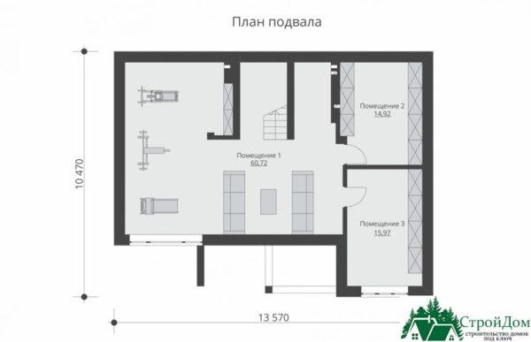 проект двухъэтажного дома 344 план цоколя 12