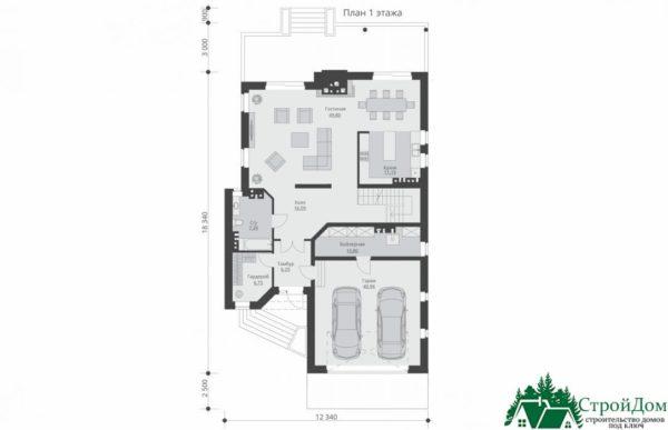 проект двухъэтажного дома 547 план 1 этажа 15