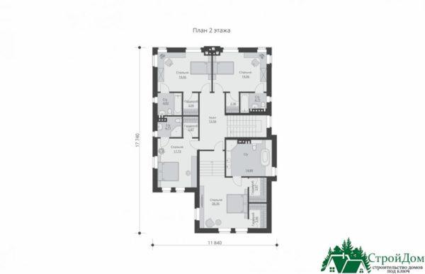 проект двухъэтажного дома 547 план 2 этажа 15