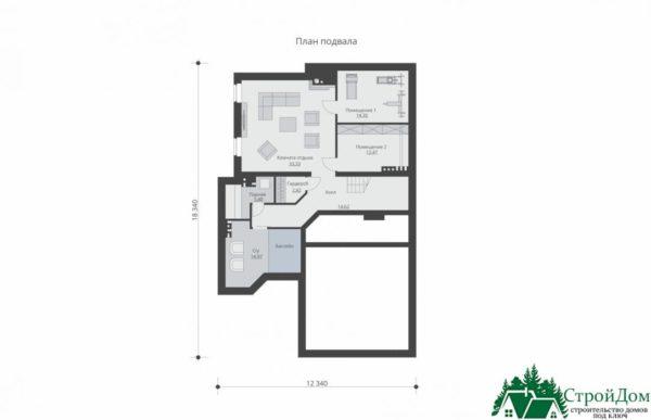 проект двухъэтажного дома 547 план цоколя 15