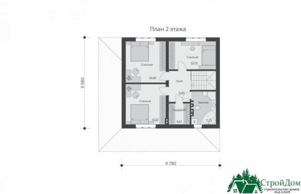 проект двухъэтажного дома 617 план 2 этажа 8