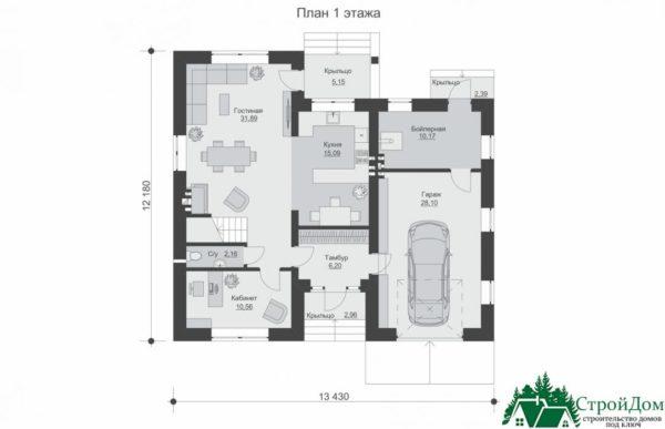проект двухъэтажного дома 649 план 1 этажа 13