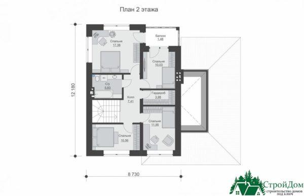 проект двухъэтажного дома 649 план 2 этажа 13