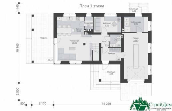 проект двухъэтажного дома 669 план 1 этажа 6
