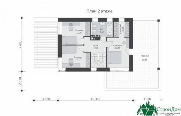 проект двухъэтажного дома 669 план 2 этажа 6