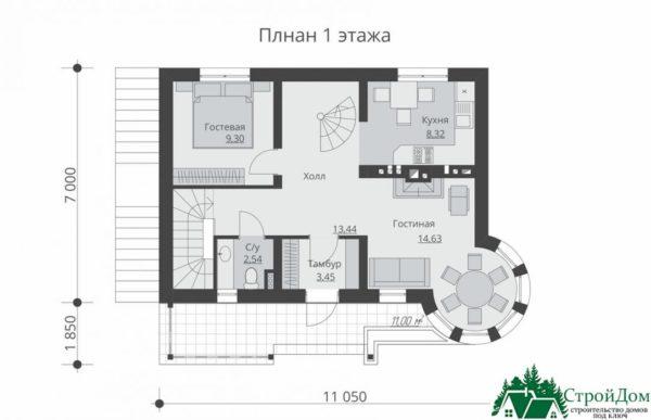 проект двухъэтажного дома 927 план 1 этажа 14