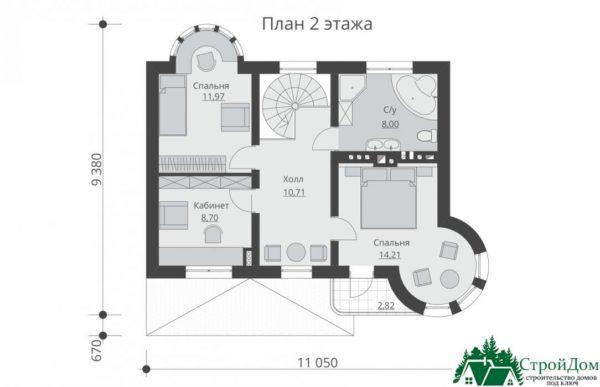 проект двухъэтажного дома 927 план 2 этажа 14