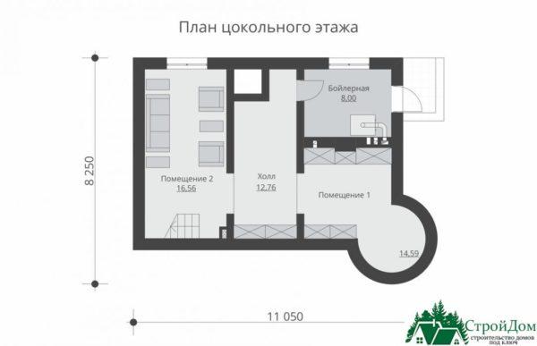 проект двухъэтажного дома 927 план цоколя 14