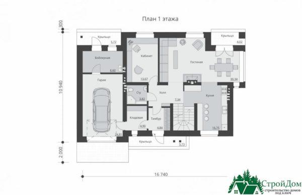 проект двухъэтажного дома 933 план 1 этажа 2