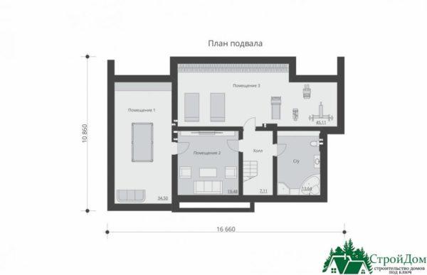 проект двухъэтажного дома 933 план цоколя 2