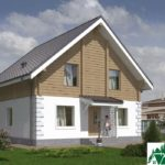 Проект одноэтажного дома с мансардой и террасой SD-489 Вид1