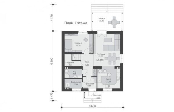 проект дома из теплоблока SDn 515 1