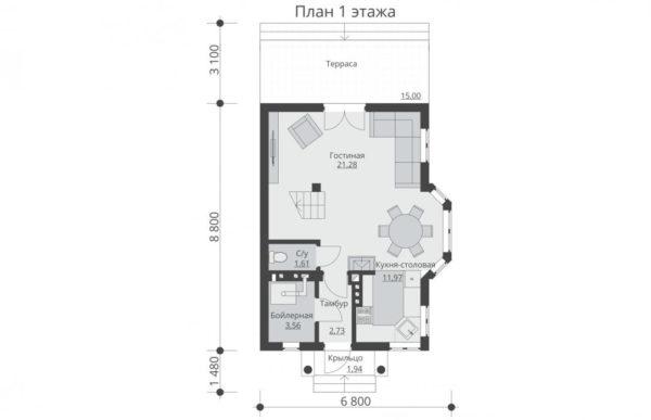проект дома из теплоблока SDn 527 1