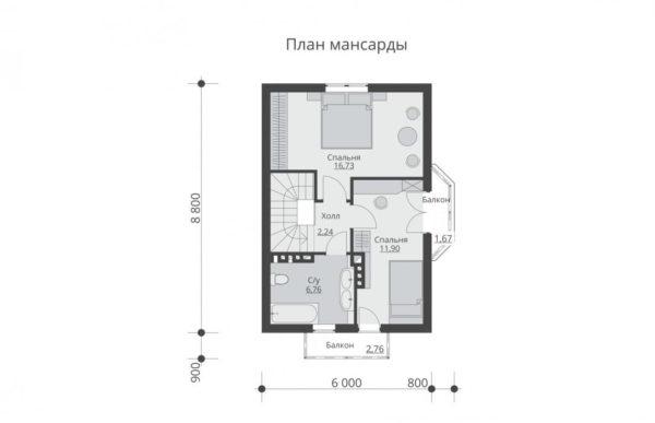 проект дома из теплоблока SDn 527 6