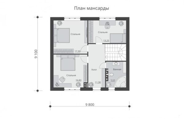 проект дома из теплоблока SDn 533 2