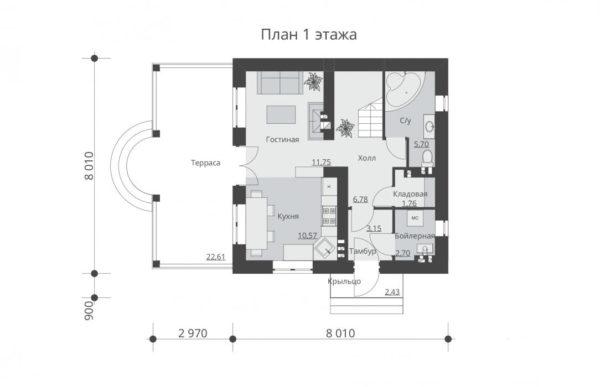 проект дома из теплоблока SDn 539 1