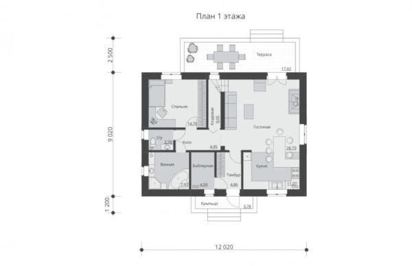 проект дома из теплоблока SDn 544 1