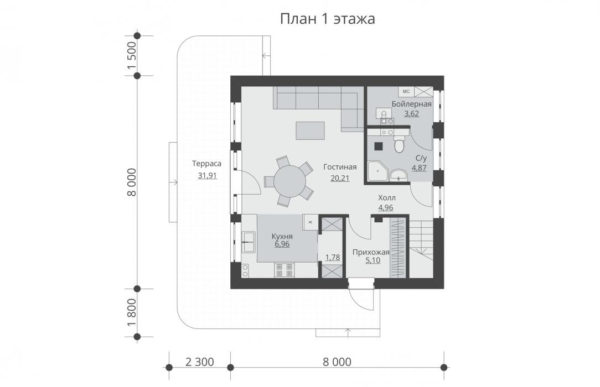 проект дома из теплоблока SDn 551 1