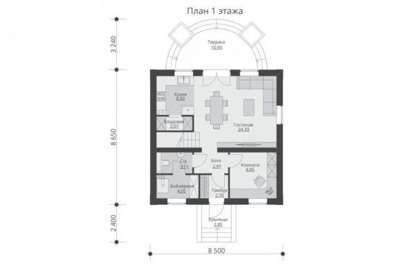 проект дома из теплоблока SDn 567 1