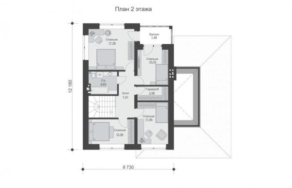 проект дома из теплоблока SDn 569 2