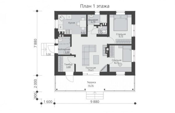 проект дома из теплоблока SDn 572 1