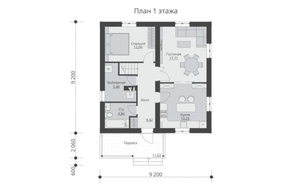 проект дома из теплоблока SDn 592 1