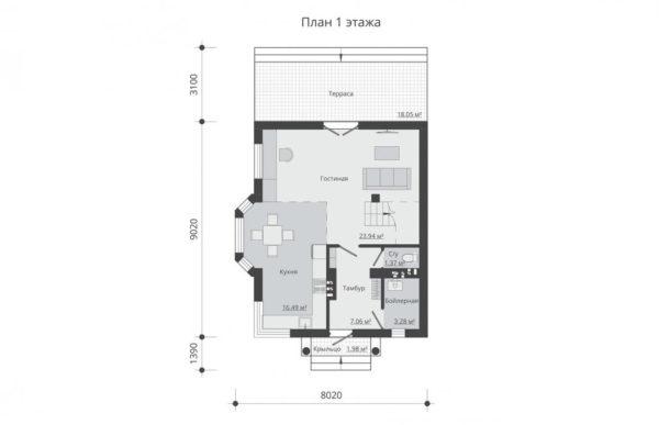 проект дома из теплоблока SDn 596 1