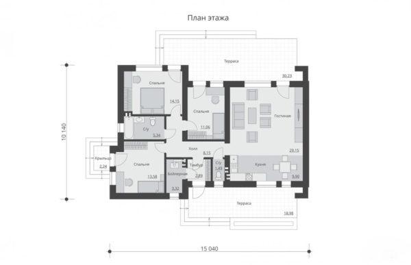 проект дома из теплоблока SDn 833 1