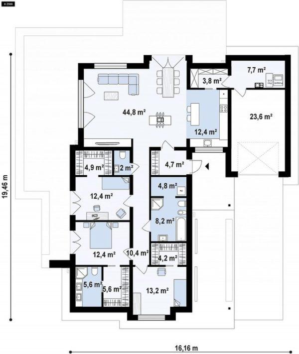 проект каркасно монолитного дома SDn 434 7