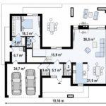 проект каркасно-монолитного дома SDn-444 1