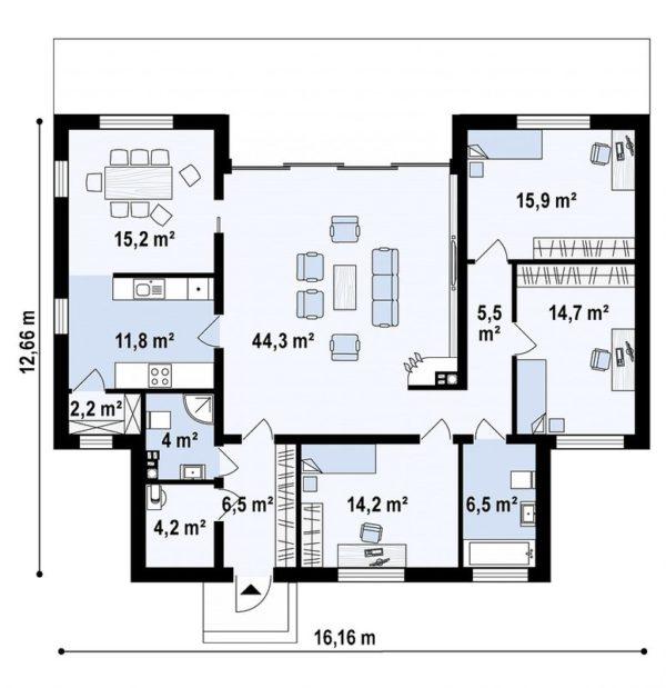 проект каркасно монолитного дома SDn 447 9