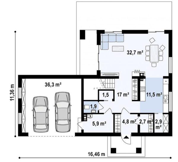 проект каркасно монолитного дома SDn 466 1